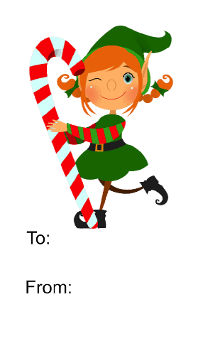 Elf with Candycane (white background) Printable Gift Tag
