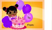 Birthday Girl Cake Candles Gift Tag