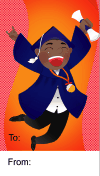 Graduation Boy Leaping Gift Tag