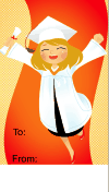 Graduation Girl Leaping Gift Tag
